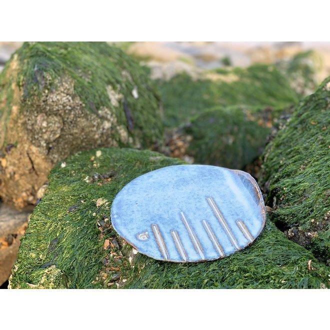 "Handmade round presentation plate ""Linea"" from the ""Chefs Artisann i-line"" blue Beach glazes"