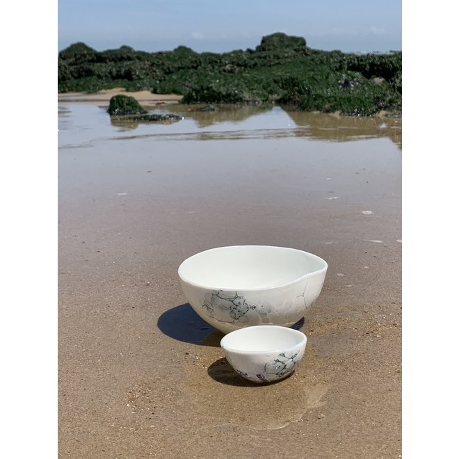 Porcelain contemporary handmade bowl 'Bulles'