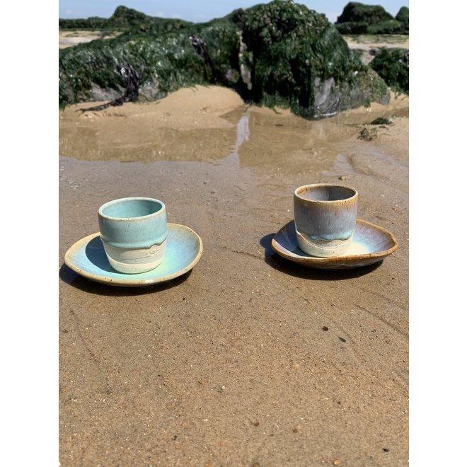 """Tasse contemporain en céramique fait main du service et de la collection """"Sunset"""""""