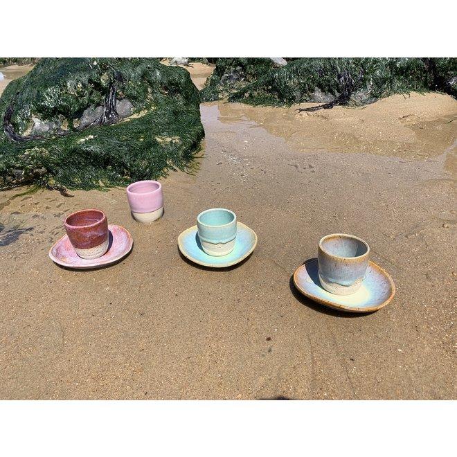 """Hedendaagse, handgemaakte keramische tas van het servies en de collectie """"Sunset"""""""
