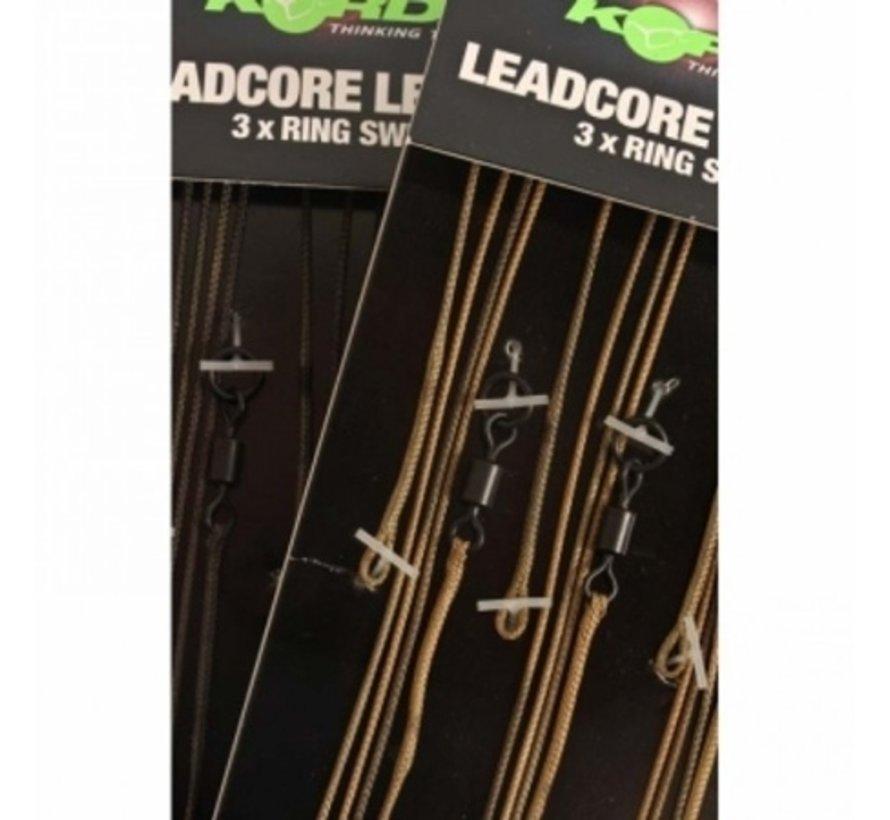 Korda Leadcore Leaders 3 x ring swivel - Leaders