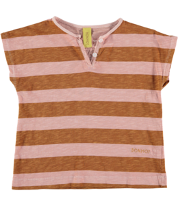 Bonmot Henley T-shirt Vintage rose + Mustard