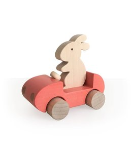 Brikivroomvroom Bunny Car - Coral