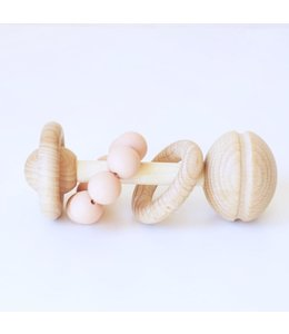 Blossom&Bear Rammelaar hout en silicone peach