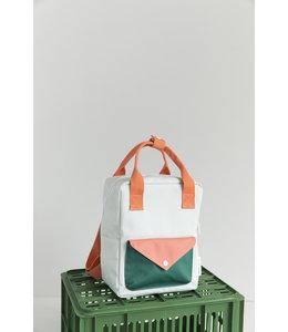 Sticky Lemon Backpack Envelope small Powder blue + coral orange + grass green