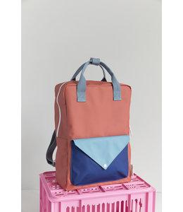Sticky Lemon Backpack Envelope Large rusty red + denim blue + ink blue