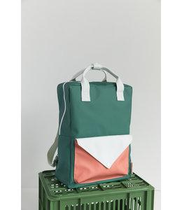 Sticky Lemon Backpack Envelope Large Grass green + powder blue + coral orange