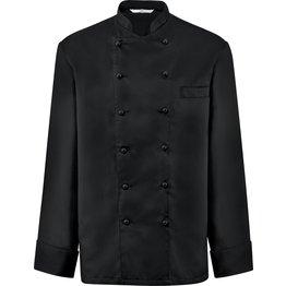 Kochjacke Herren, Brustleistentasche, langarm, schwarz Größe XL