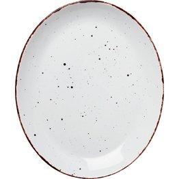 "Porzellanserie ""Granja"" weiß Platte flach oval, 30,5x25,5 cm"