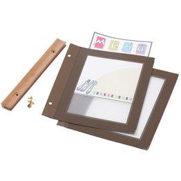 Speisenkarte mit Holzschiene A5 braun