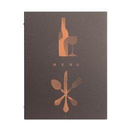 "Speisenkarte, dunkelbraun ""Leinen"", A4"