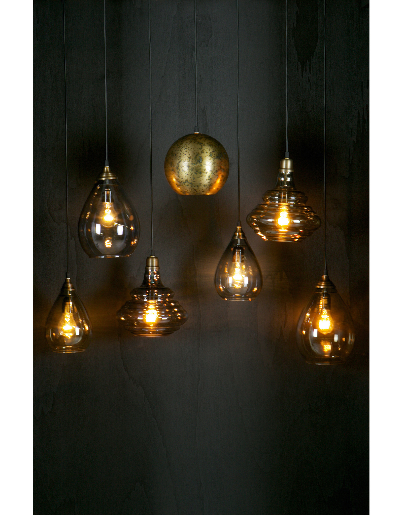 Simple Hanglamp Glas Large Antique Brass