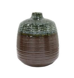 HK living Vaas van keramiek groen/bruin