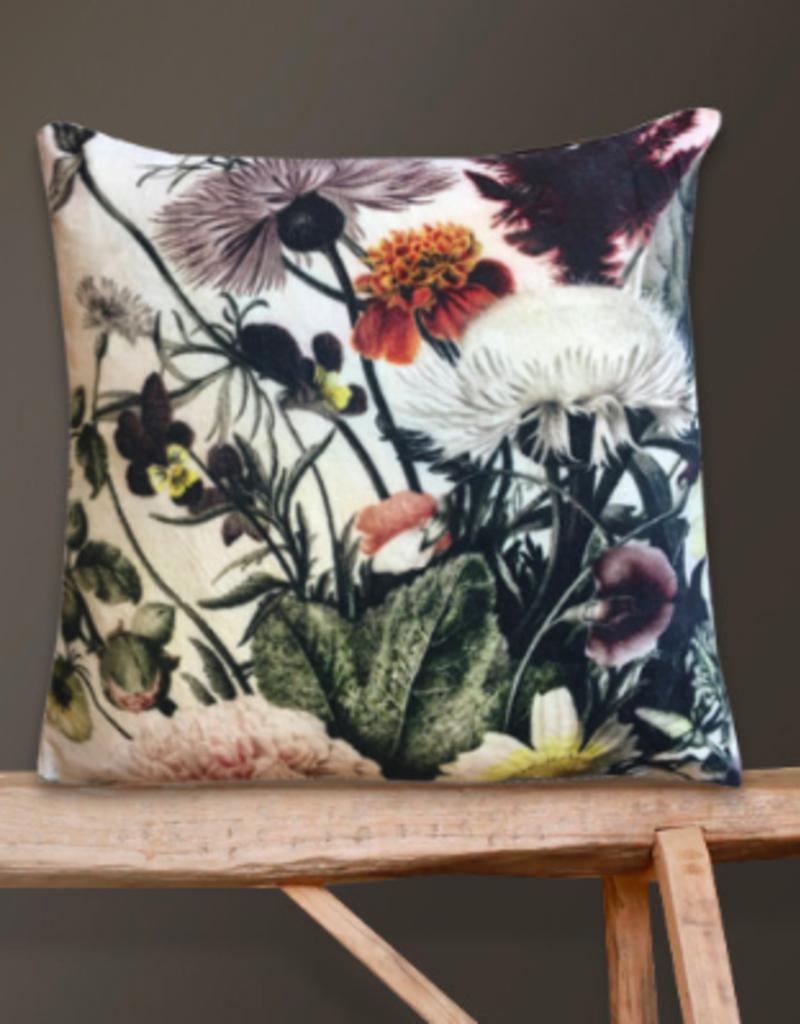 Vanilla Fly Kussen velours bloemen 50x50
