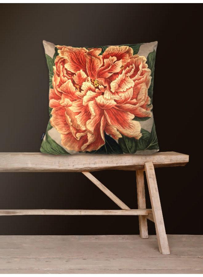 Kussen velours grote bloem 50x50