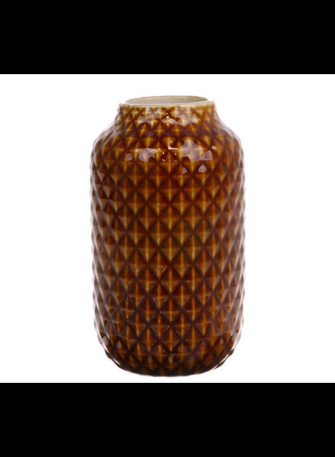 HKliving Ceramic Vase - brown glazed