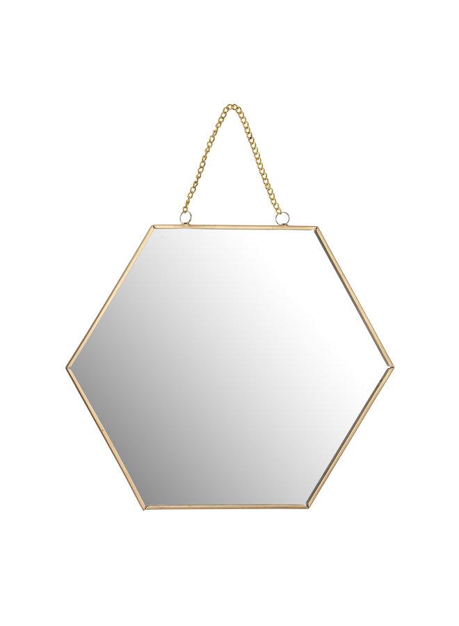 Spiegel Hexagon - goud / zwart