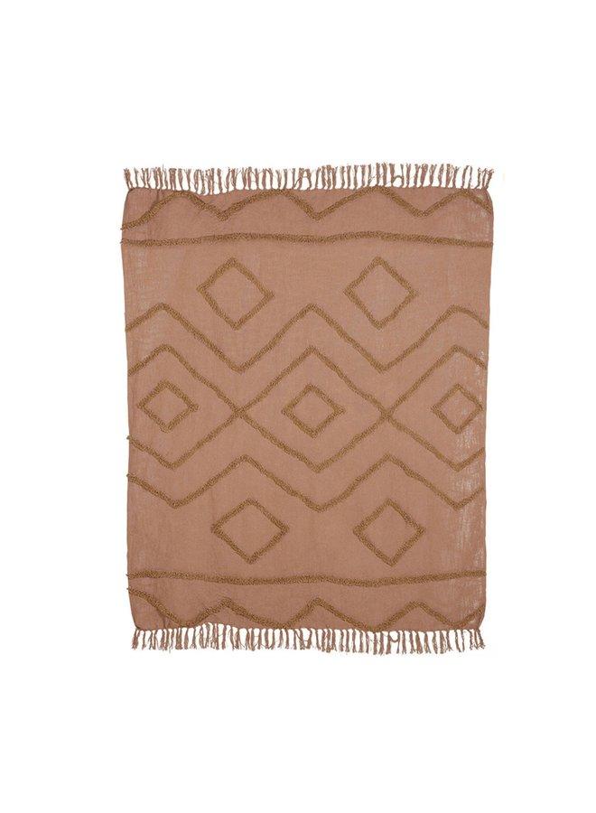 HKliving Cotton Fringe Pattern Throw - brown 130x170