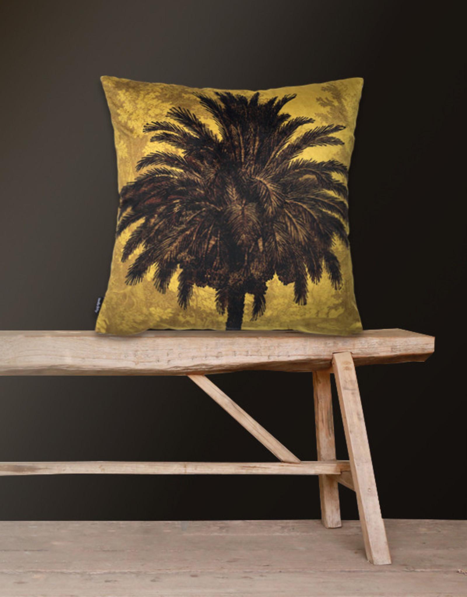 Vanilla Fly Kussen Velours Mustard Palm 50x50
