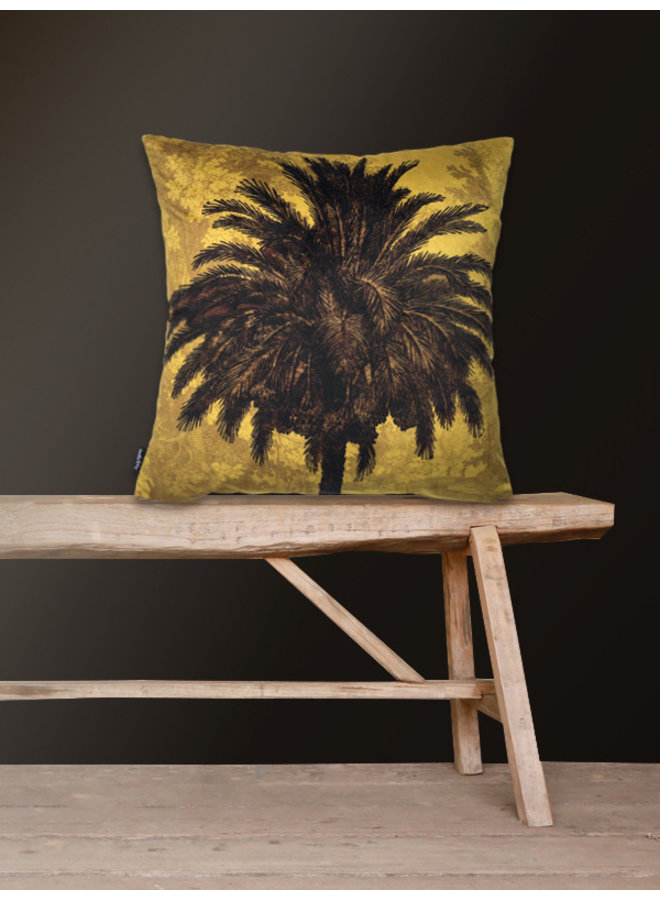 Kussen Velours Mustard Palm 50x50