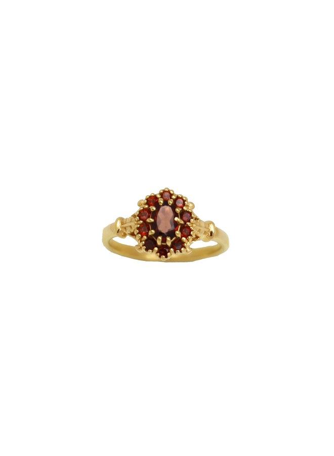 Vintage Garnet Flower ring gold