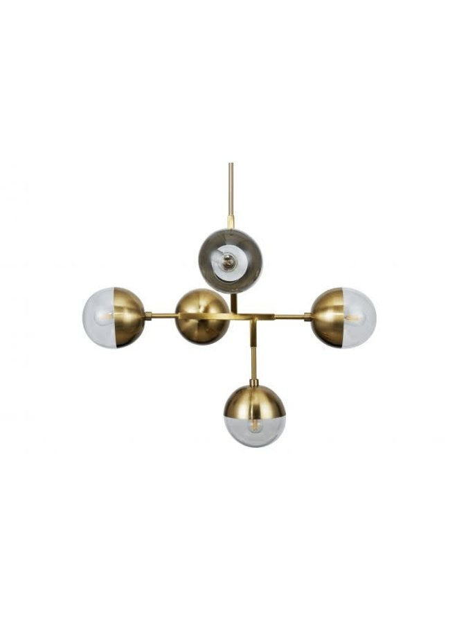 Hanglamp - goud/glas