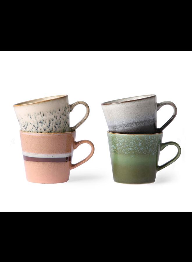 HKliving Cappuccino mokken van keramiek - set van 4