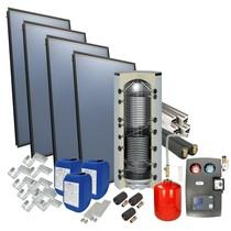 Solarpakket 4plus® schuindak met 4 collectoren en 800 liter verswaterboiler