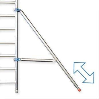 Euroscaffold Rolsteiger met enkele voorloopleuning 135 x 250 x 14,2 meter werkhoogte
