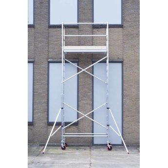 Euroscaffold Rolsteiger Basis 135 x 250 x 6,2 meter werkhoogte met nylon wiel alu spindel en telestabilisatoren