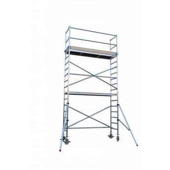 Rolsteiger Basis 135 x 250 x 6,2 meter werkhoogte met nylon wiel alu spindel en telestabilisatoren