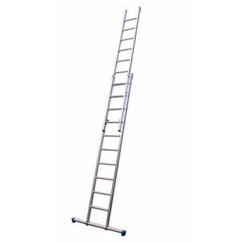 Tweedelige ladder 2x10 Maxall recht met stabiliteitsbalk | werkhoogte 5,15 m.