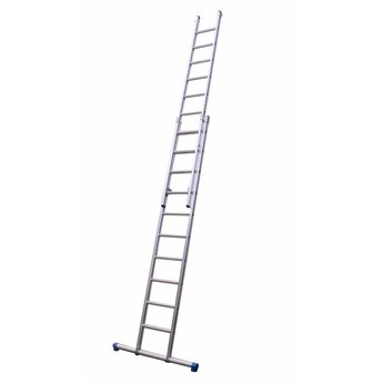 Maxall Tweedelige ladder 2x14 Maxall  recht met stabiliteitsbalk   werkhoogte 7,5 m.