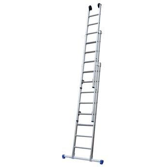 Maxall Driedelige ladder 3x14 Maxall recht met stabiliteitsbalk | werkhoogte 10,0 m.