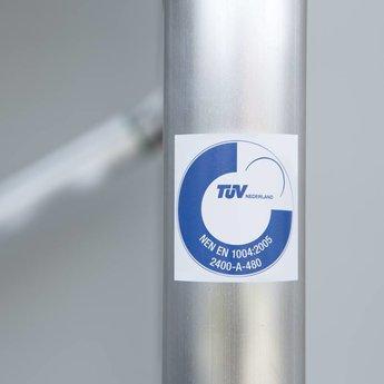 Kamersteiger Euroscaffold 90 cm breed met opstap werkhoogte 3,0 meter  met verstelbare wielen