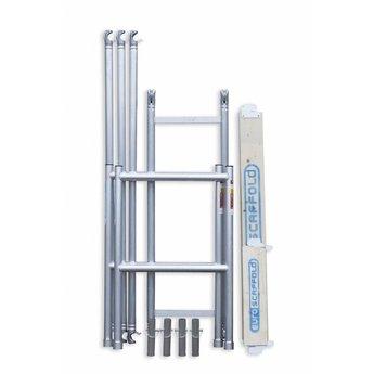 Steiger Compact werkhoogte 7,8 meter (module 1+2+3+4) met verstelbare wielen met telestabilisatoren