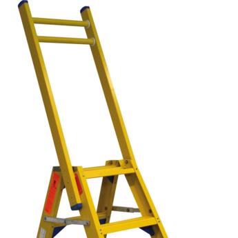Kunststof dubbele trap met vaste steunbeugel 2x3 treden