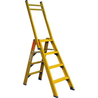 Kunststof dubbele trap met vaste steunbeugel 2x4 treden