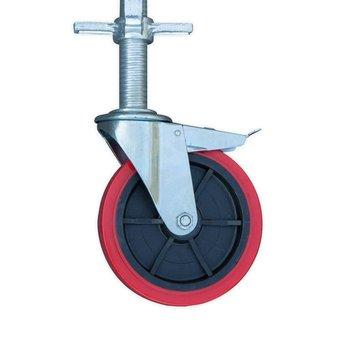 Kamersteiger 135 cm breed, werkhoogte 3,0 meter met verstelbare wielen en platform met luik