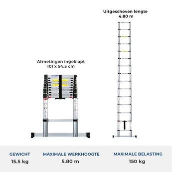 Telescoopladder 4.8 meter met stabiliteitsbalk
