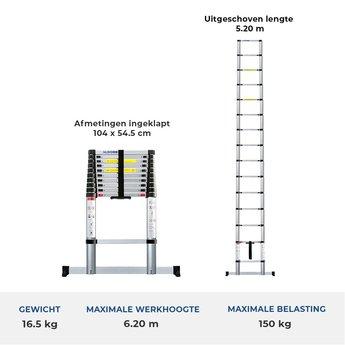 Telescoopladder 5.2 meter met stabiliteitsbalk