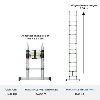 Telescopische vouwladder  5.0 meter met stabiliteitsbalk