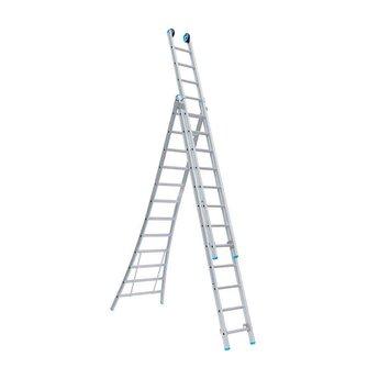 Driedelige ladder 3x10  Maxall Premium | werkhoogte 7,25 m.