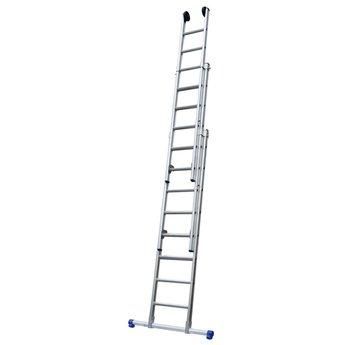 Maxall Driedelige ladder 3x8 Maxall recht met stabiliteitsbalk | werkhoogte 5,75 m.