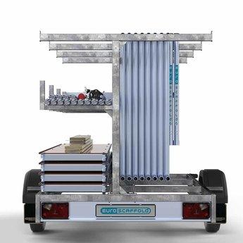 Steigeraanhanger 250 + Rolsteiger Basis 75 x 190 x 7,2 meter werkhoogte