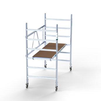 Steiger Euroscaffold 90 cm breed werkhoogte 3 meter  met verstelbare wielen en platform met luik