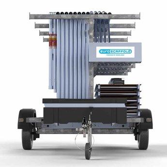 Steigeraanhanger 250 + Rolsteiger Voorloopleuning Enkel 135 x 250 x 7,2 meter werkhoogte