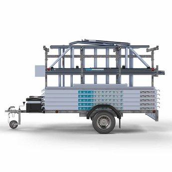 Steigeraanhanger 250 + Rolsteiger Voorloopleuning Enkel 75 x 190 x 9,2 meter werkhoogte