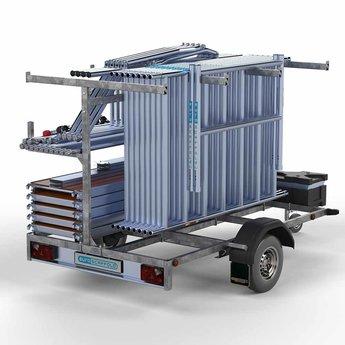 Steigeraanhanger 250 + Rolsteiger Voorloopleuning Enkel 135 x 250 x 9,2 meter werkhoogte