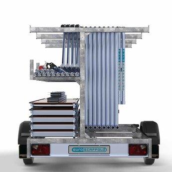 Steigeraanhanger 250 + Rolsteiger Voorloopleuning Dubbel 135 x 190 x 9,2 meter werkhoogte